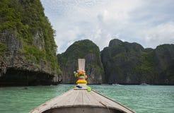 Tradycyjny drewniany łódkowaty longtail Fotografia Royalty Free