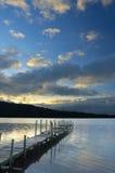 Tradycyjny drewniany dok przy jeziorem Zdjęcie Royalty Free