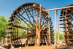 Tradycyjny drewniany waterwheel w Lanzhou & x28; China& x29; Zdjęcia Stock