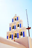 Tradycyjny Dzwonkowy wierza w Santorini, Grecja Zdjęcia Royalty Free