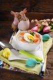 Tradycyjny Easter bielu borscht zdjęcia royalty free