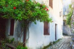 Tradycyjny Europejski Śródziemnomorski architektoniczny styl w ulicach domach i, jard, ganeczki, schodki, żaluzje w afternoo Fotografia Stock