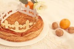Tradycyjny francuza tort, Galette des Rois Fotografia Stock