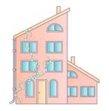 Tradycyjny i nowożytny dom Dom rodzinny Płaskiego projekta pojęcia wektorowa ilustracja ilustracji
