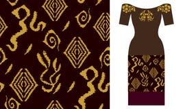 Tradycyjny ikat ornament z zawijasów motywami Partyjnej sukni projekt Zdjęcia Royalty Free