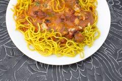 Tradycyjny indyjski karmowy masło kurczak Speggetti Obraz Stock