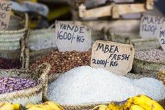 Tradycyjny jedzenie rynek w Zanzibar, Afryka Obrazy Royalty Free