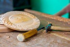 Tradycyjny Kandyan Woodcarving warsztat Fotografia Stock