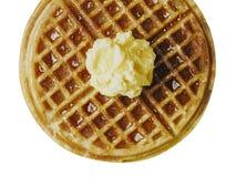 Tradycyjny klasyczny Belgium amerykański gofr z masłem i mapl Zdjęcia Stock