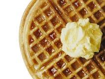 Tradycyjny klasyczny Belgium amerykański gofr z masłem i mapl Zdjęcia Royalty Free