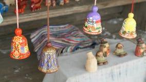 Tradycyjny kolorowy świąteczny drewniany dzwonu dzwonienie zbiory