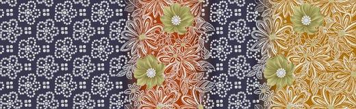 Tradycyjny kolorowy bandanna wzoru tło z kwiatem royalty ilustracja