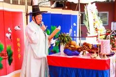 Tradycyjny Koreański Ślub występ. zdjęcie royalty free