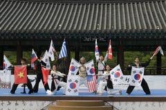 Tradycyjny Koreański sztuka samoobrony występ i doświadczenia wydarzenie pokazujemy Obrazy Royalty Free