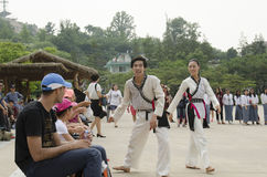 Tradycyjny Koreański sztuka samoobrony występ i doświadczenia wydarzenie pokazujemy Zdjęcia Royalty Free