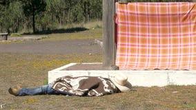 Tradycyjny kowboj odpoczywa na ziemi zdjęcie wideo