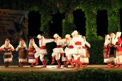 Tradycyjny Macedoński tana zespołu sceny występ Varna Bułgaria fotografia royalty free