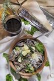 Tradycyjny naczynie Valtellina Włochy, Pizzoccheri zdjęcie stock