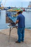 Tradycyjny obrazek dyszy rywalizację w małym Hiszpańskim grodzkim Palamos w Costa Brava szybko 03 06 2018 Hiszpania Zdjęcia Stock