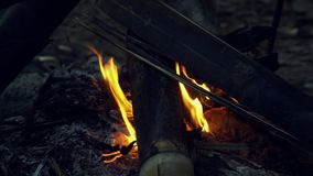 Tradycyjny ognisko Robić bambus Wywodzi się palenie przy nocą Ogień Płonie Jarzyć się przy nocą w Tajlandia zbiory wideo