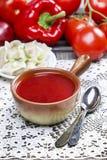 Tradycyjny połysku gość restauracji, borscht i kluchy, zdjęcie royalty free