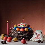 Tradycyjny prawosławny Wielkanocny Paschalny jedzenie obraz royalty free