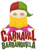 Tradycyjny przebranie Monocuco w Barranquilla ` s Karnawałowym wydarzeniu, Wektorowa ilustracja ilustracji