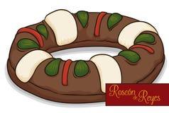 Tradycyjny ` Roscon De Reyes ` lub królewiątka ` tort dla objawienia pańskiego, Wektorowa ilustracja Obraz Stock