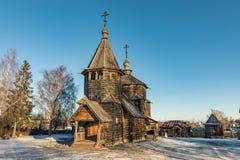 Tradycyjny Rosyjski drewniany kościół rezurekcja od wioski Patakino Obraz Stock