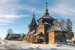 Tradycyjny Rosyjski drewniany kościół rezurekcja od wioski Patakino Zdjęcie Stock