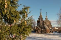 Tradycyjny Rosyjski drewniany kościół rezurekcja od wioski Patakino Fotografia Royalty Free