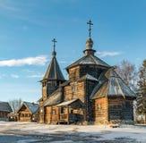 Tradycyjny Rosyjski drewniany kościół rezurekcja od wioski Patakino Zdjęcia Royalty Free