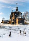 Tradycyjny Rosyjski drewniany kościół rezurekcja od wioski Patakino Obraz Royalty Free