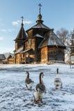 Tradycyjny Rosyjski drewniany kościół rezurekcja od wioski Patakino Obrazy Royalty Free