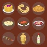 Tradycyjny Rosyjski kuchni kultury naczynia jedzenia kursowy powitanie Rosja posiłku wektoru wyśmienita krajowa ilustracja ilustracji