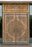 Tradycyjny rzeźbiący drewniany drzwi, Uzbekistan Obrazy Royalty Free