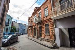 Tradycyjny stary balkon dom w Tbilisi Gruzja 07 05 2017 Zdjęcie Stock