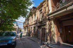 Tradycyjny stary balkon dom w Tbilisi Gruzja 07 05 2017 Obrazy Stock