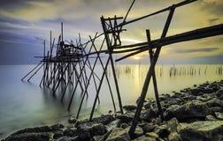 Tradycyjny szalunku jetty, Langgai lub Zdjęcia Stock