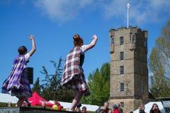 Tradycyjny szkocki Górski taniec w kilts Zdjęcie Stock