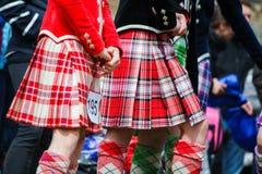 Tradycyjny szkocki Górski taniec w kilts Fotografia Stock