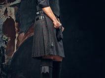Tradycyjny Szkocki kostium Kilt i sporran obraz royalty free