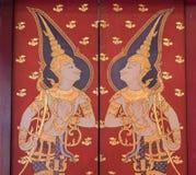 Tradycyjny Tajlandzki malowidło ścienne obraz życie Buddha i Tajlandzki życie Obrazy Stock