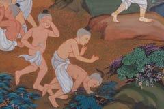 Tradycyjny Tajlandzki malowidło ścienne obraz życie Buddha i Tajlandzki życie Obraz Stock