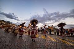 Tradycyjny taniec i festiwal w Placu De Armas, Cusco, Peru Zdjęcia Royalty Free