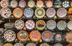 Tradycyjny Turecki ceramics dla sprzedaży na Uroczystym bazarze Zdjęcia Stock