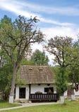 Tradycyjny wiejski dom w na wolnym powietrzu muzeum, otręby, Rumunia fotografia royalty free