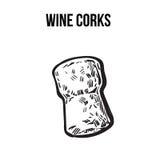 Tradycyjny wina lub szampana korek, nakreślenie stylowa wektorowa ilustracja ilustracji