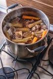 Tradycyjny wołowina rosół z warzywem, kościami i składnikami w garnku, kulinarny przepis Obrazy Royalty Free