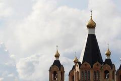 Tradycyjny złoty cupola w Rosyjskiej katedrze Fotografia Royalty Free